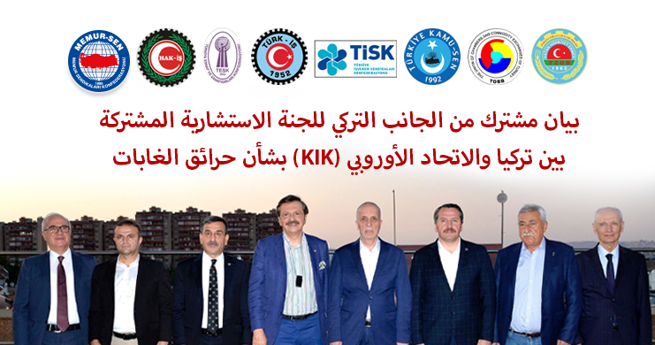 بيان مشترك من الجانب التركي للجنة الاستشارية المشتركة بين تركيا والاتحاد الأوروبي (KIK) بشأن حرائق الغابات